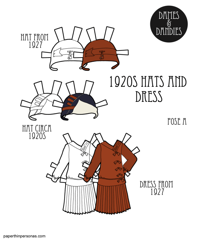 A 1920s paper doll dress with hats for the Dames and Dandies paper doll series. The dress has a dropped waist, side bows and a pleated skirt. The hats are both cloches. The designs come from 1927.