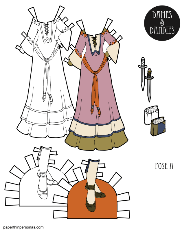 A Fantasy Medieval Princess gown for the A Pose printable paper dolls with matching shoes. The gown has an under-gown with long sleeves and an over-gown with flared sleeves. The shoes have attached stockings with garters at the top.