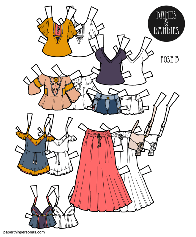 Paper doll fashions inspired by boho fashion brands. Eight different pieces of paper doll clothing that can combine into over 18 combinations.
