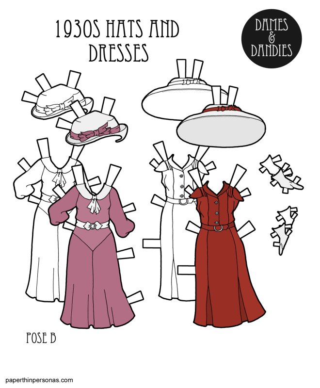 A pair of 1930s paper dolls dresses with matching hats based on the designs from home sewing patterns. The dress on the left is from the early 1930s and the dress on the left is from the mid-1930s. Both dresses have matching hats.