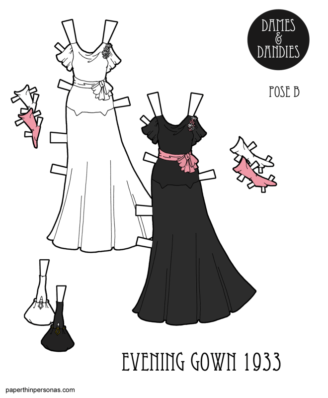 A paper doll 1930s evening wear illustration with a black dress from 1933, gloves and a purse.