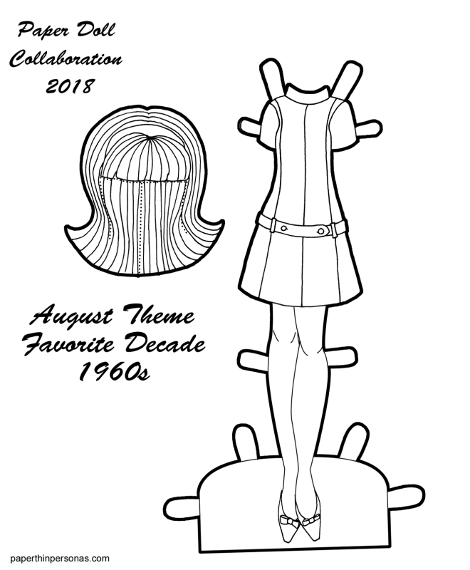 A vintage styled paper doll dress coloring page based on a design from 1968 with matching shoes and wig for the 2018 Collaborative paper doll from paperthinpersonas.com.