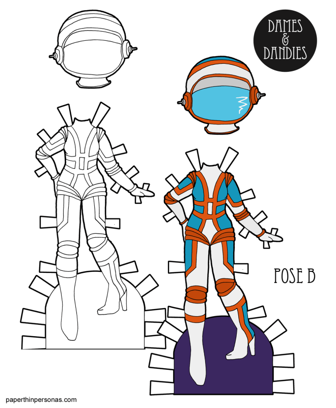 A retro astronaut paper doll inspired by the space age fashions of the late 1960s. High heeled boots can be spacewear, right?