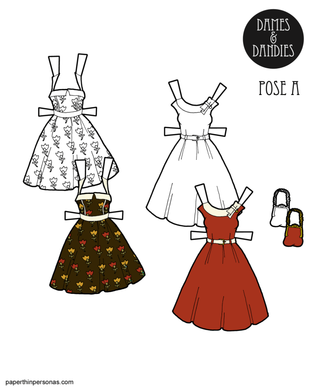 A pair of retro rockabilly inspired dresses with a matching purse to print and dress up some paper dolls in.