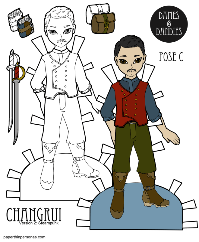 A new steampunk paper doll design featuring an Asian guy paper doll with accessories.