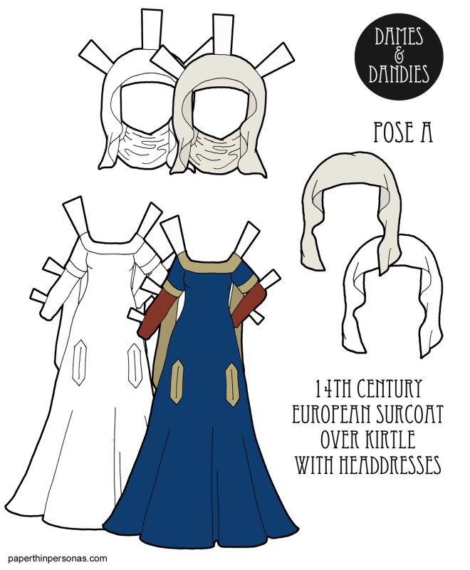 Dress up a paper doll in historically accurate 1300s clothing including a surcoat over a kirtle and two head-dresses.