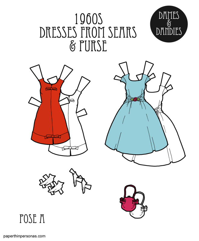 A pair of 1960s paper doll dress straight from the pages of vintage Sears catalogs. Both dresses are available in color or black and white.