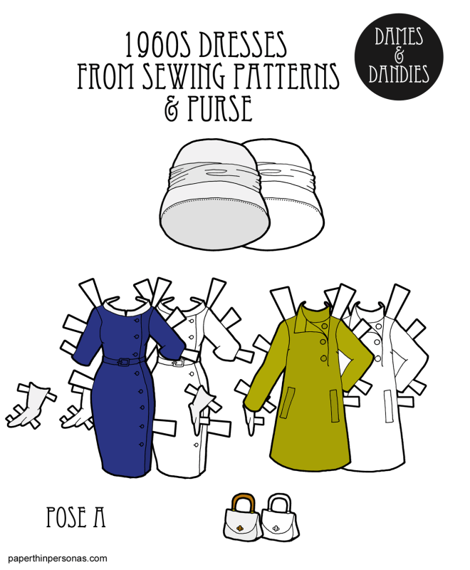 1960s sewing pattern cover inspired paper doll dresses. One from 1961 and one from 1967. Both dresses are historically accurate and free to print.
