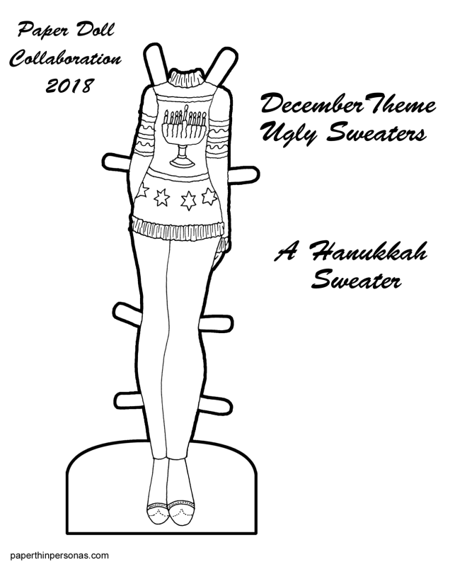 A black and white paper doll coloring page of a Hanukkah sweater, pants and shoes from paperthinpersonas.com.