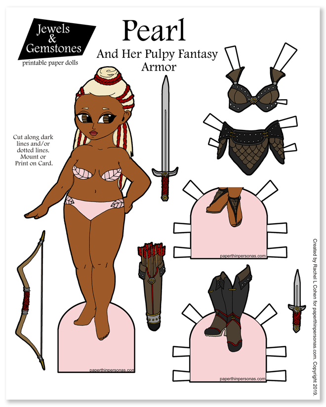 Today's printable paper doll celebrates pulpy fantasy armor. She's got long blond hair with redbraids and leather armor, boots and sandals. Free to print in color or black and white.