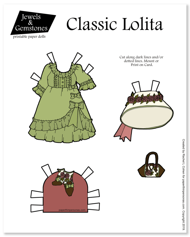 A Classic Lolita inspired coordinate for my printable paper dolls with a purse, hat and shoes.