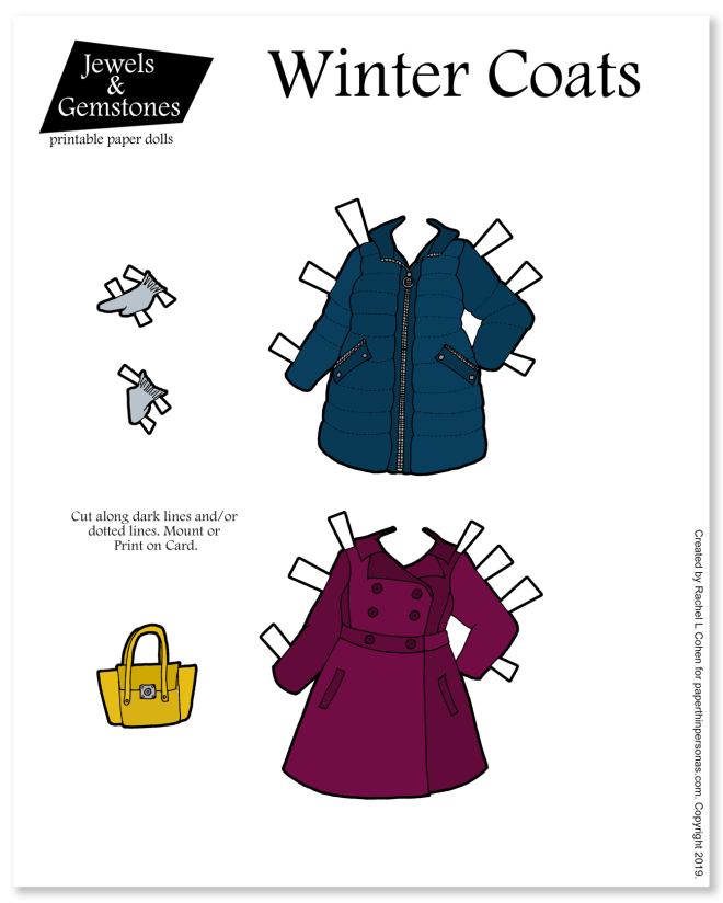 Winter coats for paper dolls! Paper dolls need to stay warm too and they can in this tailored wool coat and puffer coat, with accessories like gloves.