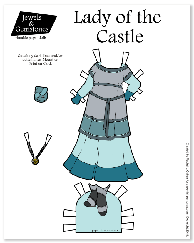 A colorful printable paper doll dress inspired by the medieval period and you can print it in color or in black and white for coloring.