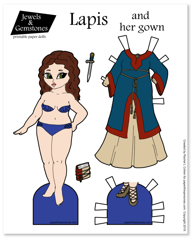 A paper doll with a fantasy gown inspired by the medieval time period with shoes and a book.