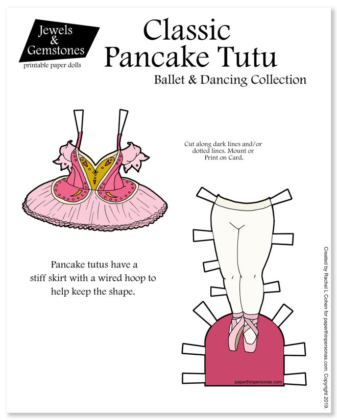 A classic pancake style pink tutu for the paper dolls with en pointe shoes. Print in color or black and white for coloring.