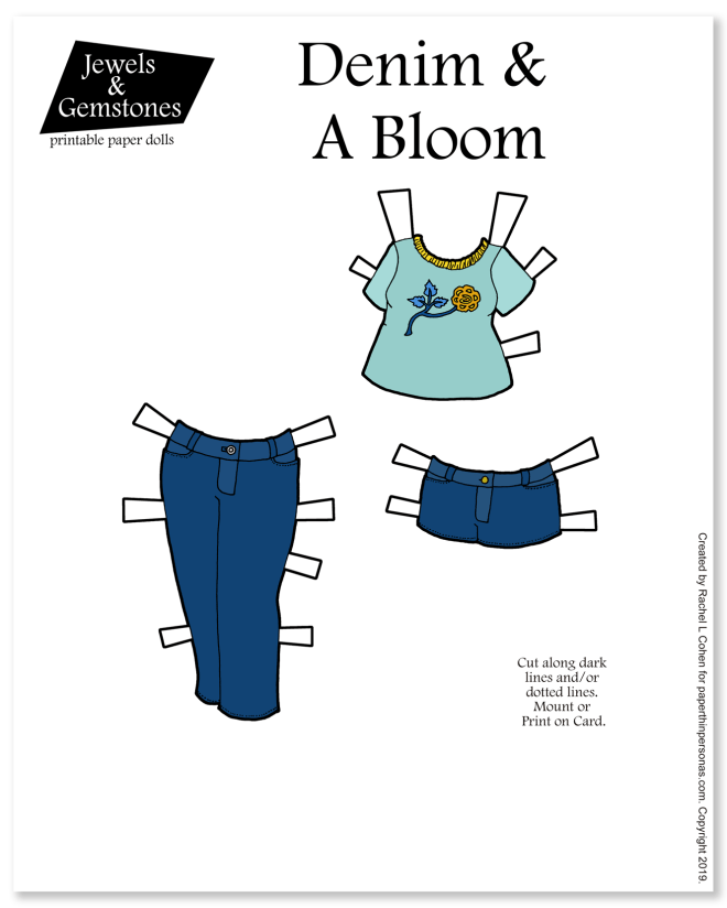 A set of paper doll clothing with a pair of jeans, a pair of jean shorts and a t-shirt with a floral design on it.