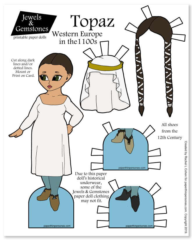A 12th century fashion paper doll with shoes, wigs and historical underwear.
