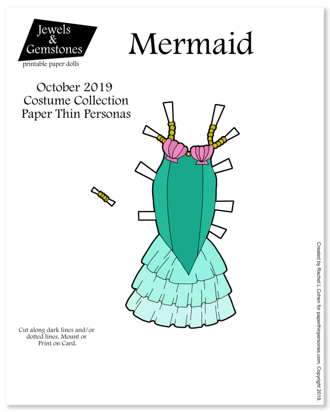 A printable mermaid costume for the Jewels and Gemstones paper doll series. Can be printed in color or black and white.