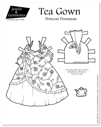 A fantasy princess gown for a paper doll inspired by the full skirts of the 1860s. Free to print in color from paperthinpersonas.com