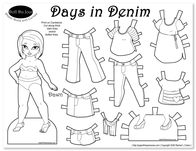 A coloring page with paper dolls to dress with jeans and other contemporary clothing pieces.