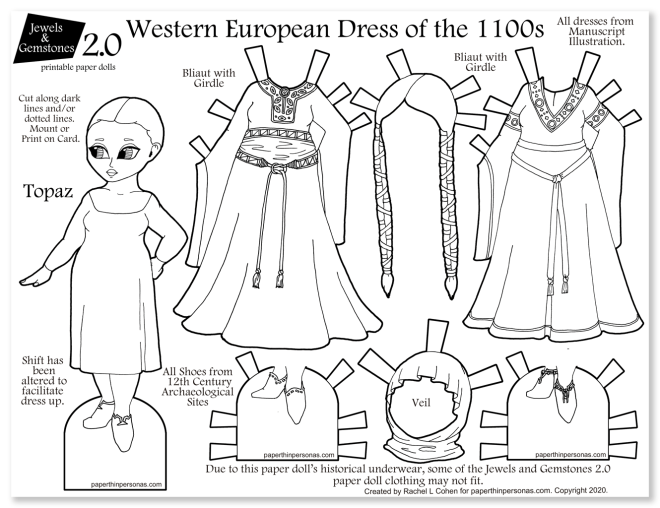 A printable paper doll coloring page of 1100s dresses with a paper doll and two gowns.