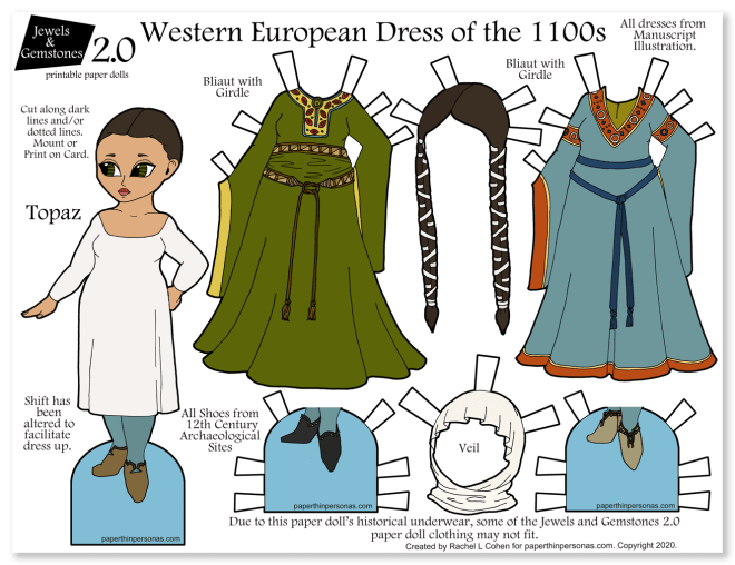 A printable paper doll with clothing from the 12th century. Great homeschooling history idea.