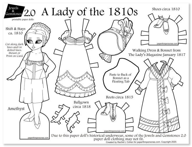A beautiful paper doll with regency dresses to print and play with. This fun coloring page has one doll and six different clothing pieces.