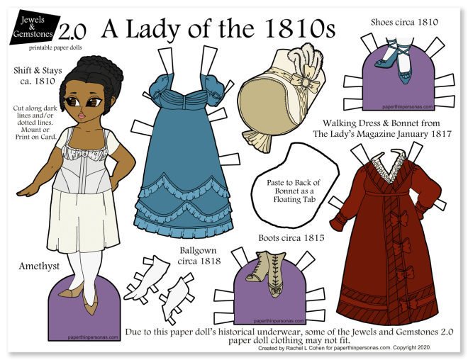 A beautiful colorful paper doll with regency dresses to print and play with.