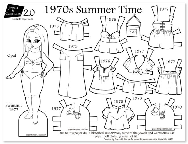 A black and white printable 1970s paper doll with 12 different mix and match pieces. A fun coloring page for vintage fashion folks.