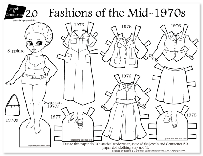 A 1970s fashion paper doll coloring page for printing out and playing with. Fun vintage fashion activity for kids featuring a black paper doll and her work wardrobe from the mid-1970s.