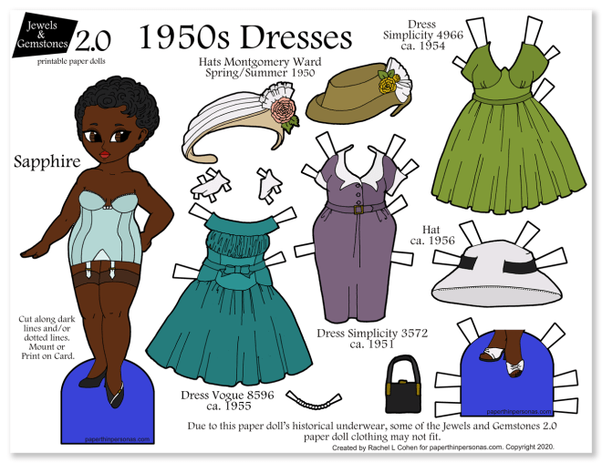A 1950s black fashion paper doll to print with vintage dresses and underwear. She has three dresses, three hats and two pairs of shoes.