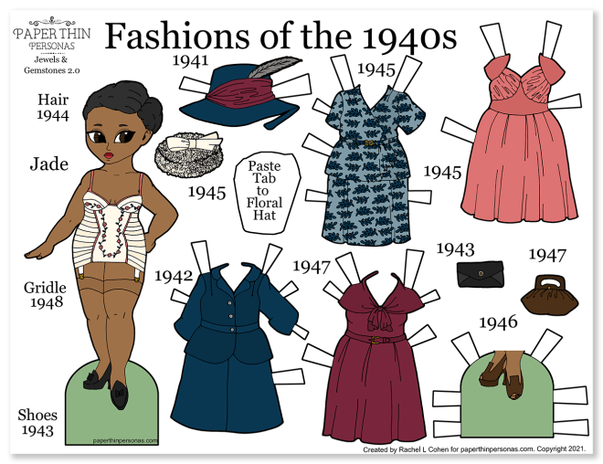A paper doll coloring page with a curvy 1940s black lady and her ten piece wardrobe.