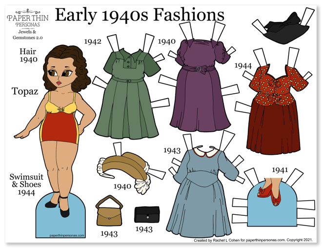 A printable 1940s paper doll coloring page with vintage fashions. Four mix and match dresses, plus hats and shoes. The dolls wears a 1940s style swimsuit.