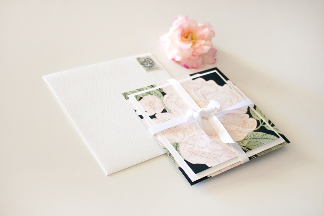 floral wedding invitation suite wrapped up