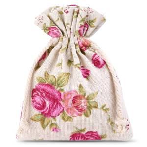 Woreczek na pendrive – lniany róże – 8x10cm