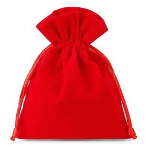 Woreczek na pendrive – welurowy czerwony – 8x10cm