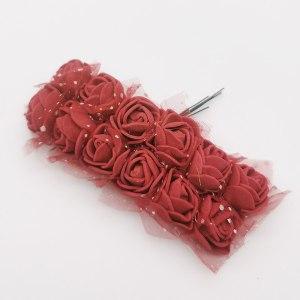 Różyczki piankowe z tiulem 2cm bordowe 12szt