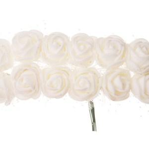 Różyczki piankowe z tiulem 2cm ecru 12szt
