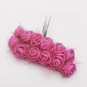 Różyczki piankowe z tiulem 2cm różowe ciemne 12szt