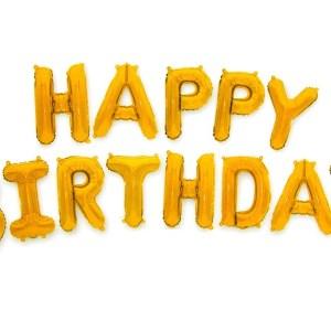 Balon Foliowy Happy Birthday Złoty