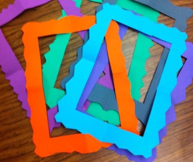 colourful paper frames classroom