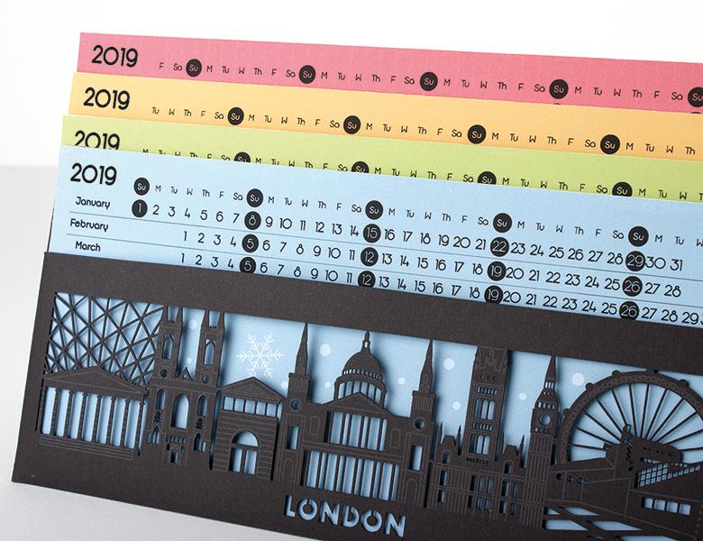 Calendari tall laser, tres mesos/full, paret/sobretaula