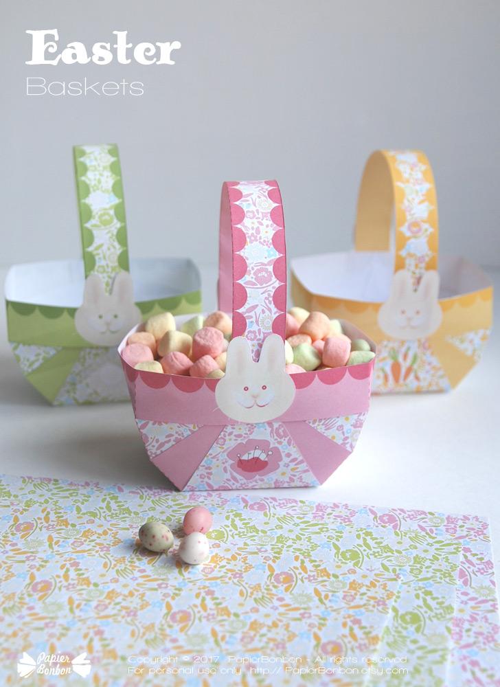 Easter Baskets Printable Papier Bonbon