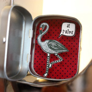 boite reconfort minute flamant rose je t'aime rouge