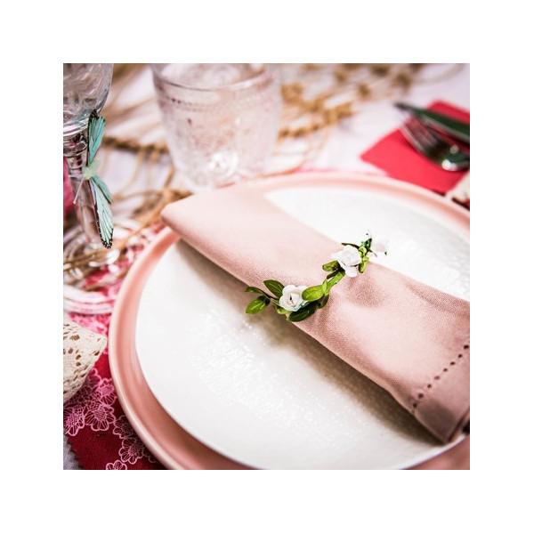 rond de serviette couronne fleurs en papier blanches pour bapteme mariage
