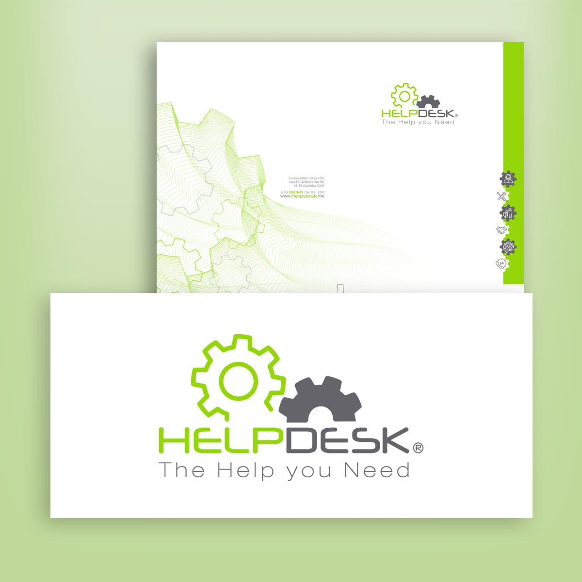 diseño de logotipo y papelería Helpdesk