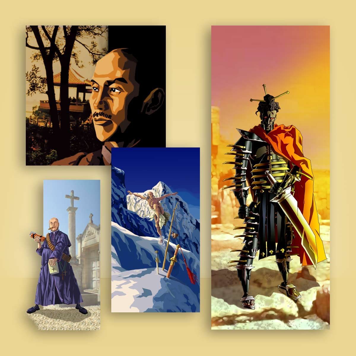 ilustración retrato y personaje Arkeos