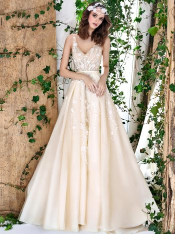 embroidered organza ball gown