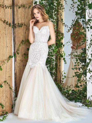 Spaghetti strap mermaid wedding gown
