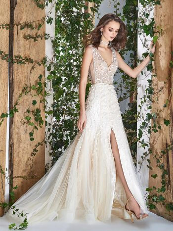 wedding dress with 3D floral detail